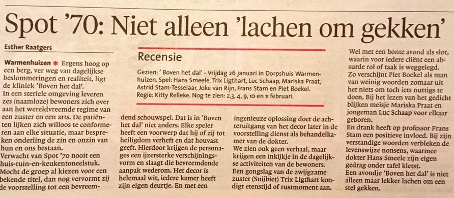 Recensie Boven het Dal in Schager Courant
