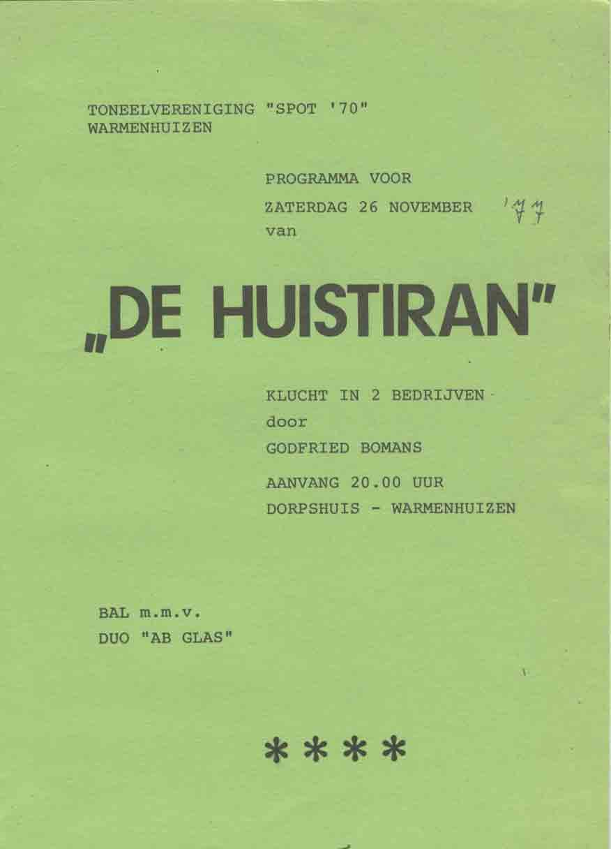 1977 – De Huistiran