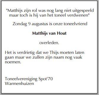 Matthijs van Hout overleden